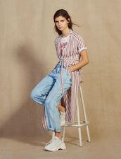 Langes Hemdkleid Mit Feinen Streifen : Kleider farbe Bordeaux