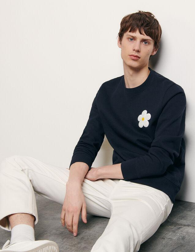 Sweatshirt mit aufgesticktem Patch : Sommerkollektion farbe Marine