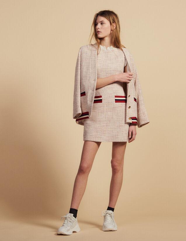 Kurzes Gerades Tweedkleid : Kleider farbe Rosa