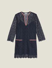 Kurzes Kleid Aus Gipürespitze : Kleider farbe Marine