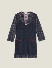 Kurzes Kleid Aus Gipürespitze : null farbe Marine