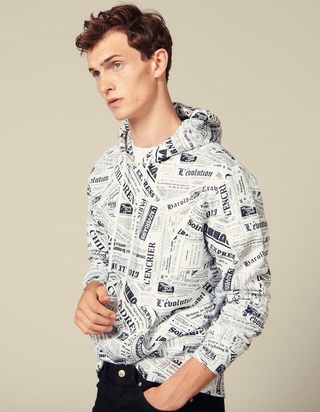 Hoodie Mit Zeitungsprint : Sweatshirts farbe Weiss/Schwarz