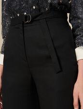 Weite Hose mit hoher Leibhöhe : Hosen farbe Schwarz