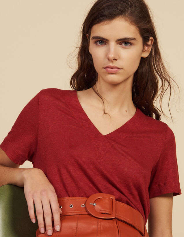 T-Shirt Aus Leinen Mit Kurzen Ärmeln : T-shirts farbe Terrakotta
