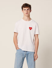 Baumwoll-T-Shirt Mit Beflocktem Herz : Sélection Last Chance farbe Weiß