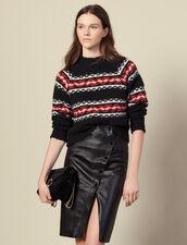 Geschlitzter Wickelrock aus Leder : Röcke & Shorts farbe Schwarz