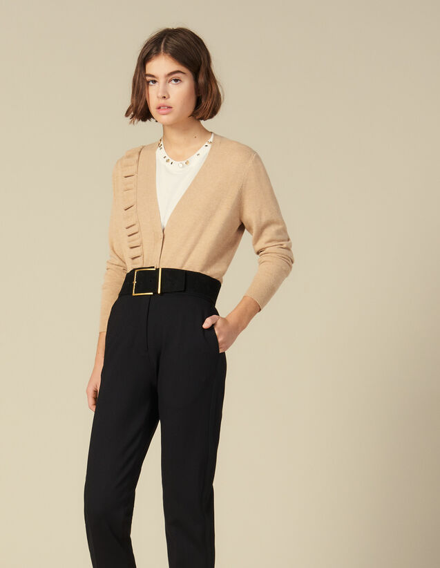Cardigan Mit Asymmetrischem Volant : Pullover & Cardigans farbe Camel