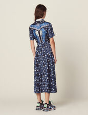 Langes Fließendes Hemdkleid Mit Print : null farbe Blau