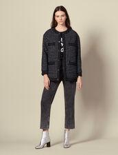 Oversize-Blouson aus gestepptem Tweed : Blousons & Jacken farbe Marine