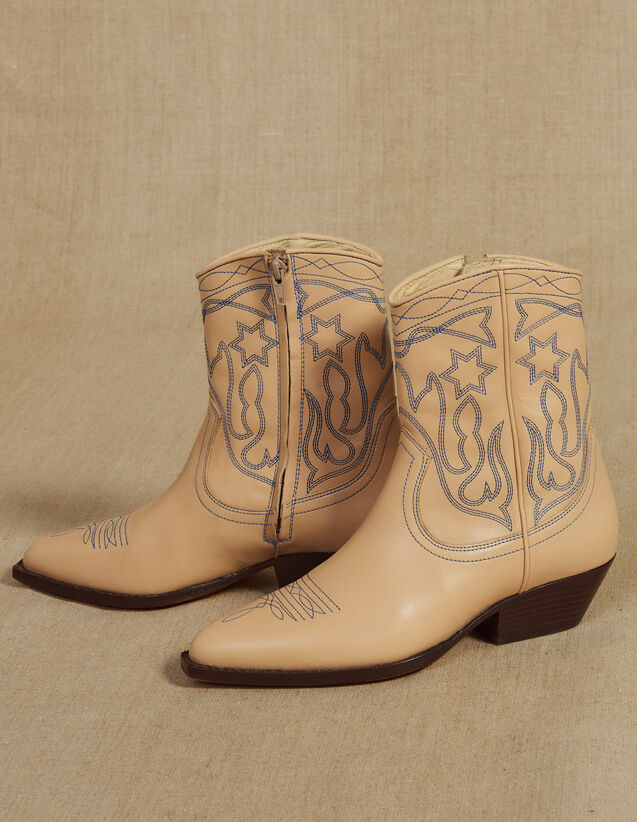 Leder-Cowboystiefeletten Mit Stickerei : Sommer Kollektion farbe Sand