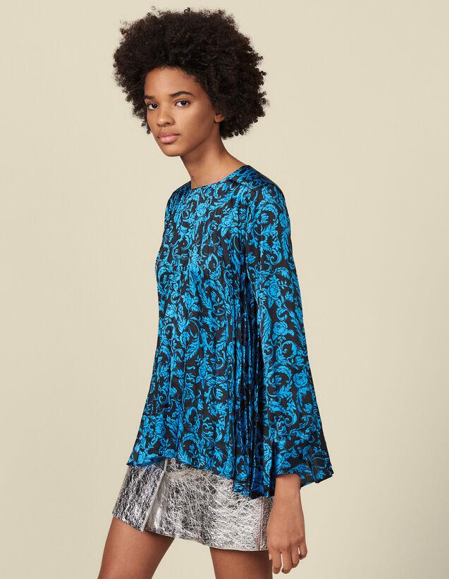 Fließendes Plissee-Top mit Print : Tops & Hemden farbe Blau