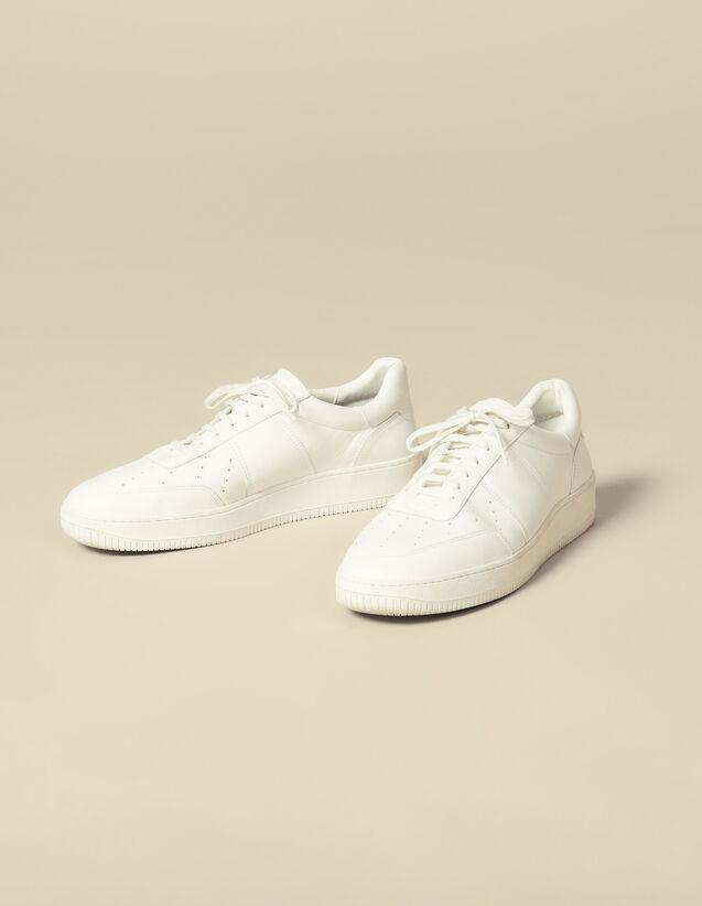 Einfarbige Sneaker Aus Leder : Schuhe farbe Weiß