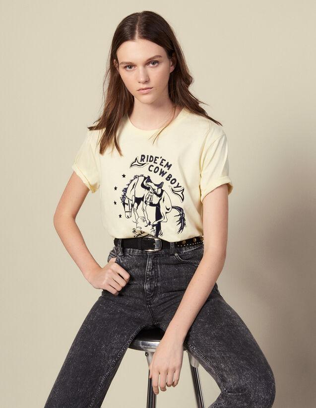 T-Shirt mit Kontraststickerei : T-shirts farbe Blassgelb