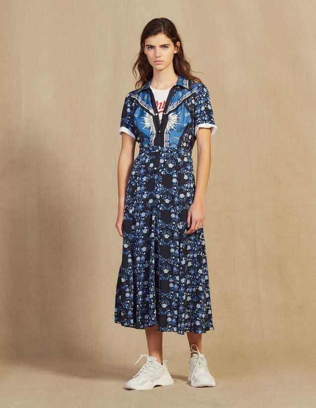 Langes Fließendes Hemdkleid Mit Print : Kleider farbe Blau