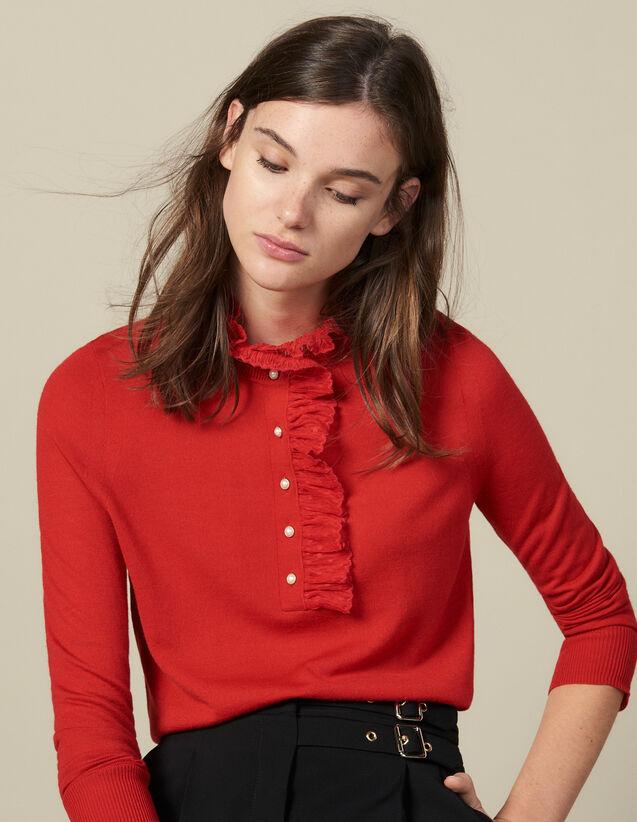 Pullover Mit Tüll Am Kragen : Pullover & Cardigans farbe Rot