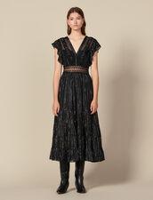Langes Kleid Aus Lurex-Seide : Kleider farbe Schwarz
