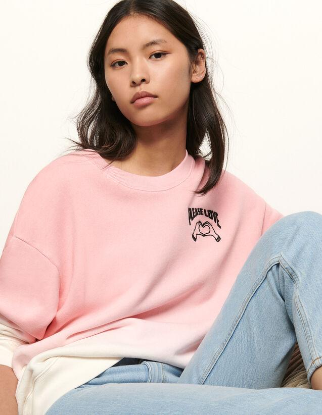 Sweatshirt mit Farbverlauf und Stickerei : Sommerkollektion farbe Rosa