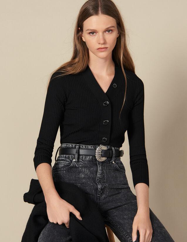 Cardigan aus feinem Rippenstrick : Pullover & Cardigans farbe Schwarz