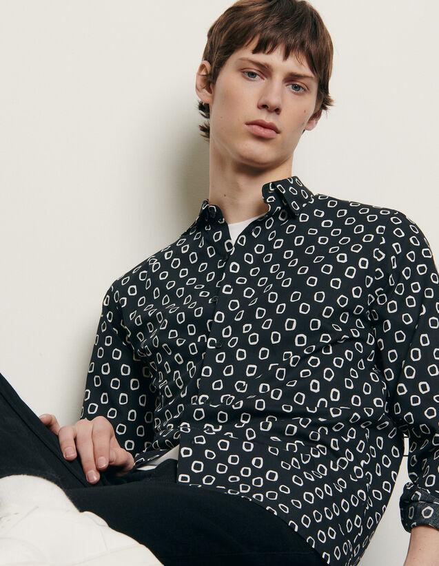 Hemd aus Baumwolle mit Print : Hemden farbe Schwarz