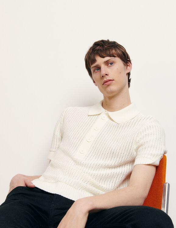 Poloshirt aus Strick mit Durchbrechungen : Pullovers & Cardigans farbe Ecru