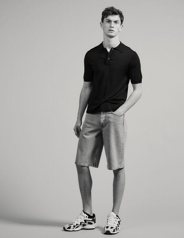 Kurzarm-Poloshirt aus Feinstrick : T-Shirts & Polos farbe Marine