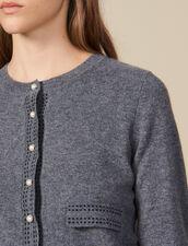 Cardigan mit kontrastierenden Ziernähten : Pullover & Cardigans farbe Grau
