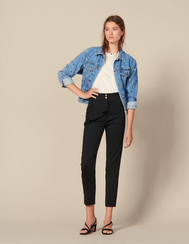 Hose mit Schößchen & ausgestelltem Bein : Hosen farbe Schwarz