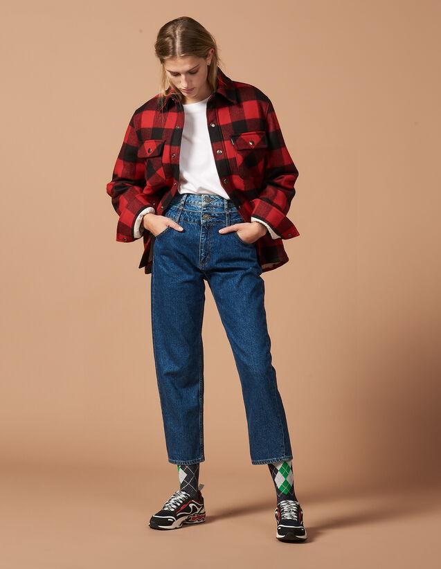 Trompe-L'Œil-Jeans Mit Mom-Schnitt : Jeans farbe Blau