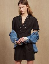 Kurzes Kleid Mit Ösenverzierung : LastChance-CH-FSelection-Pap&Access farbe Schwarz