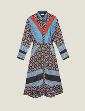 Fließendes Hemdkleid Mit Print : null farbe Blau