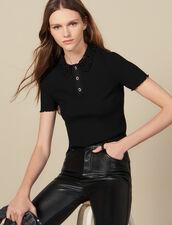 Geripptes Poloshirt mit Gipüre-Kragen : FBlackFriday-FR-FSelection-30 farbe Schwarz