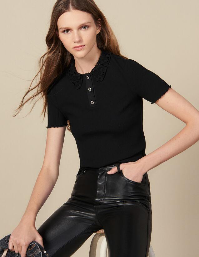 Geripptes Poloshirt mit Gipüre-Kragen : T-shirts farbe Schwarz
