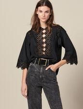 Top Mit Gipürespitzeneinsatz : Tops & Hemden farbe Schwarz
