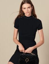 Strickkleid mit Stehkragen : Kleider farbe Schwarz