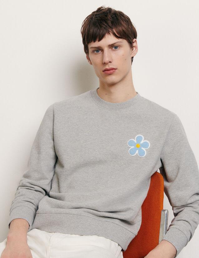 Sweatshirt mit aufgesticktem Patch : Sommerkollektion farbe Grau Meliert