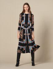 Langes Kleid mit Halstuchprint : Kleider farbe Schwarz
