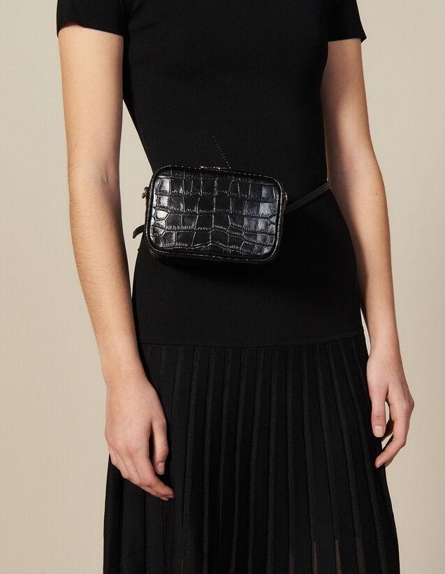 Gürteltasche aus Leder mit Krokoprägung : Die ganze Winterkollektion farbe Schwarz