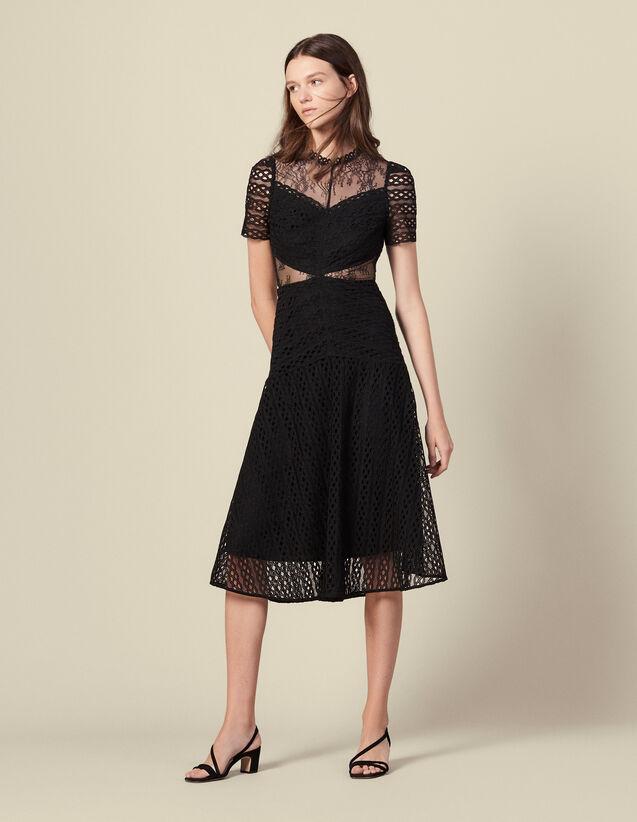 Langes Kleid aus Gipürespitze : Kleider farbe Schwarz
