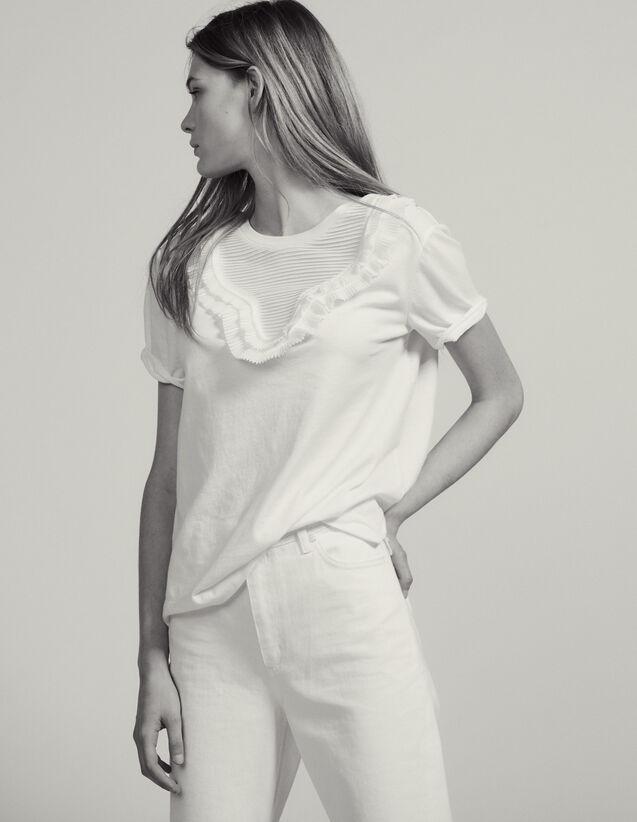 T-Shirt Mit Plissiertem Plastron : T-shirts farbe Weiß