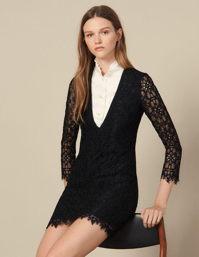 Kurzes Kleid Mit Trompe-L Oeil-Effekt : FBlackFriday-FR-FSelection-Robes farbe Schwarz