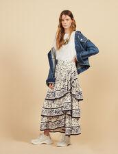 Langer Volant-Rock Mit Print : Röcke & Shorts farbe Bunt