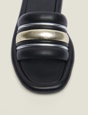 Flache Pantoletten Aus Materialmix : null farbe Schwarz/Gold