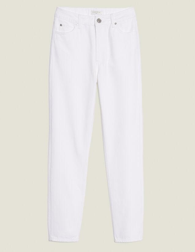 Jeans Mit Hohem Bund Gerader Schnitt : Jeans farbe Weiß
