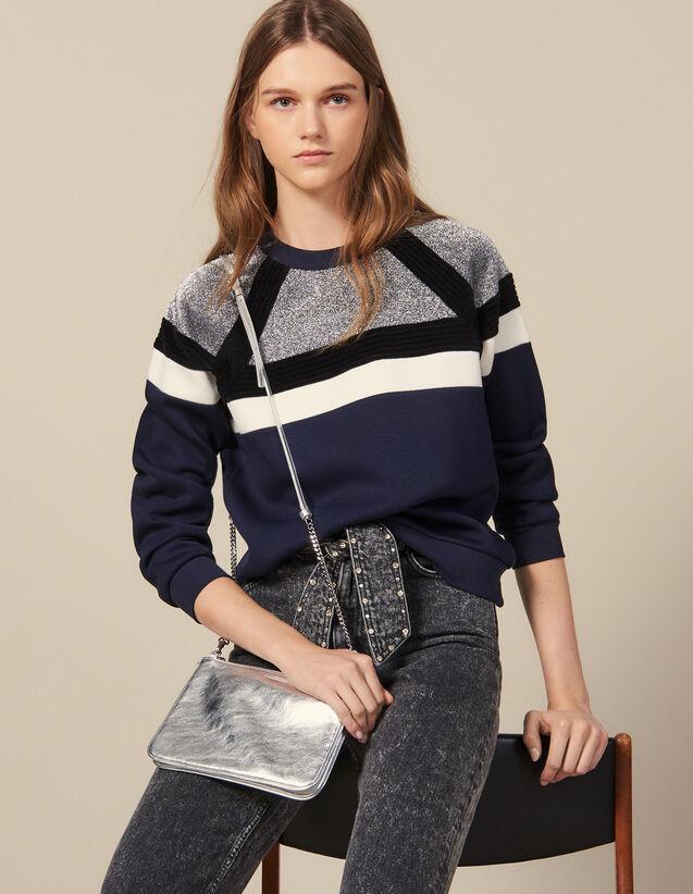 Sweatshirt mit Streifen : Sweatshirts farbe Marine