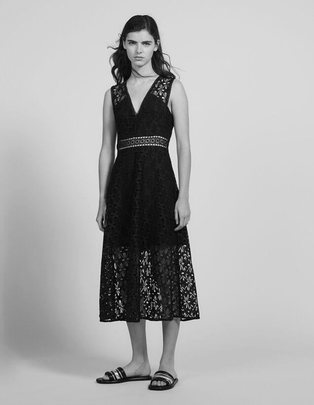Midi-Kleid Aus Lochstickerei-Spitze : Kleider farbe Schwarz