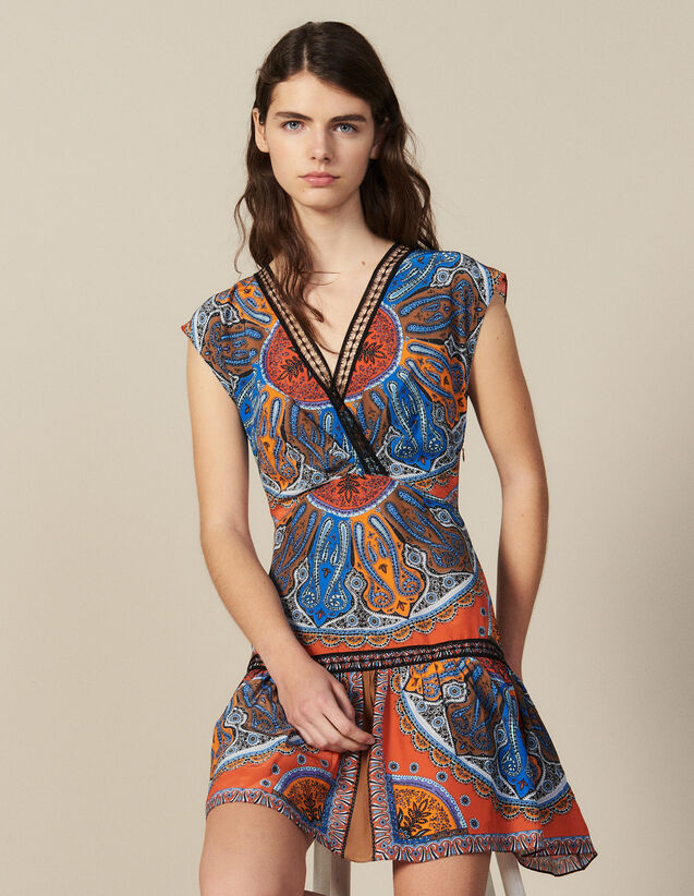 Kurzes Kleid Mit Print Und Volants : Kleider farbe Bunt