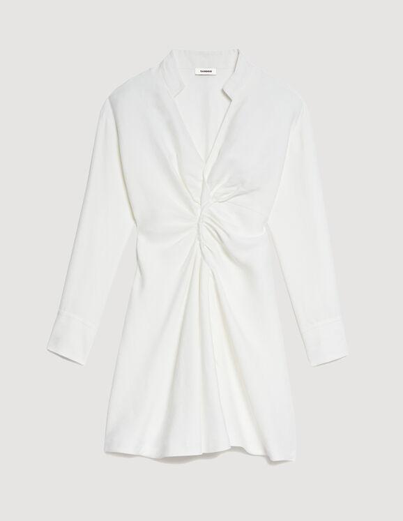 Kurzes Kleid mit langen Ärmeln SFPRO01105 Ecru - Kleider ...