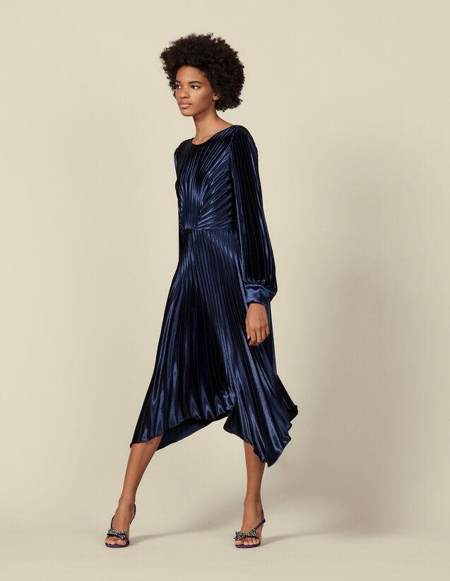 Kleid mit asymmetrischen Falten : Kleider farbe Marine