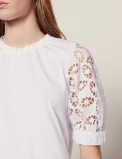 T-Shirt Mit Spitzenärmeln : null farbe Weiß