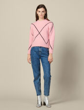 Jacquard-Pullover mit Hairy-Effekt : LastChance-ES-F40 farbe Rosa